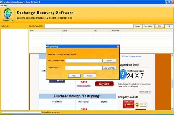 Exchange Repair Software Screenshot